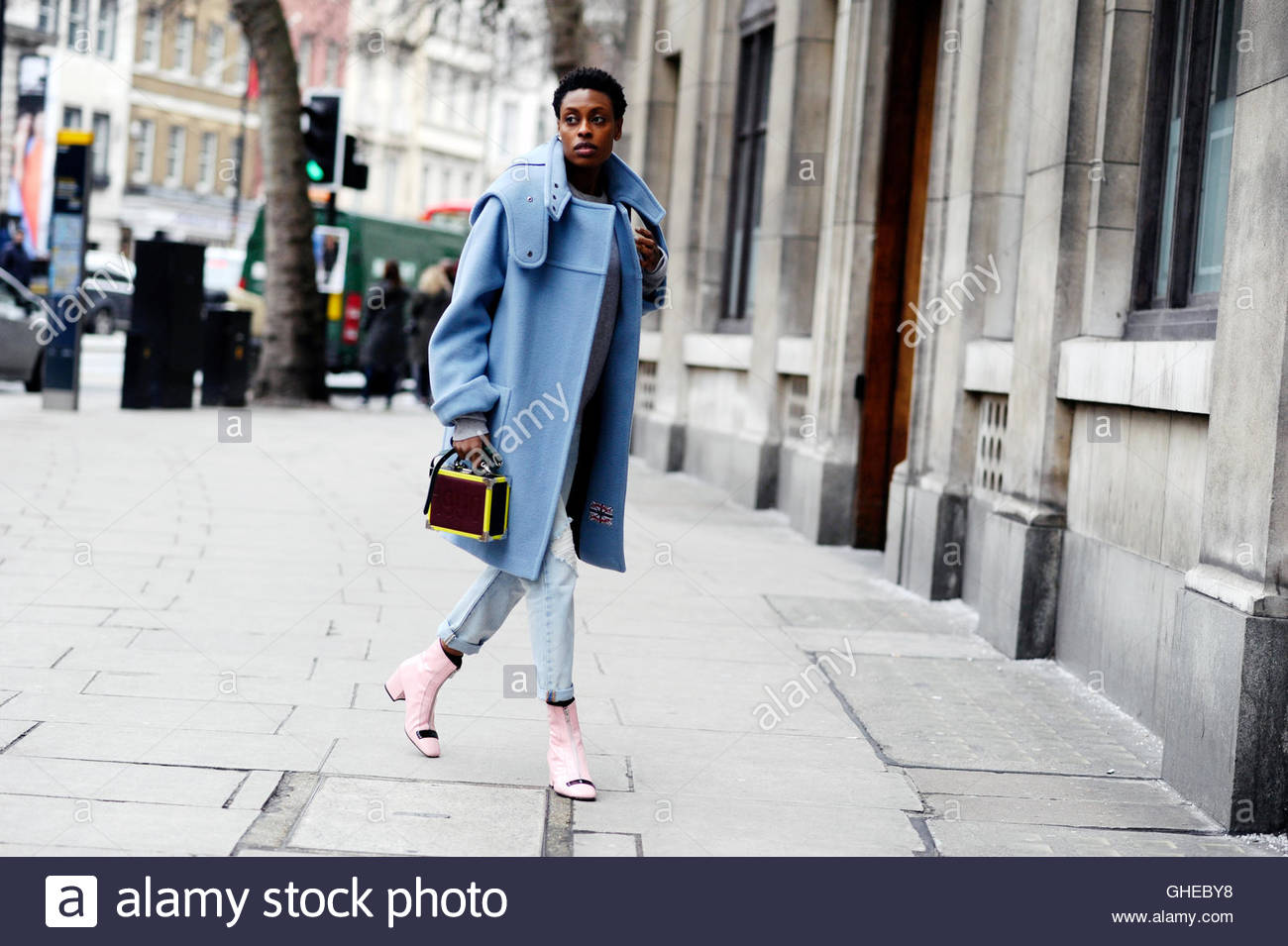 Donna Wallace Stylist on The Strand London England UK during London Fashion Week. - Stock Image