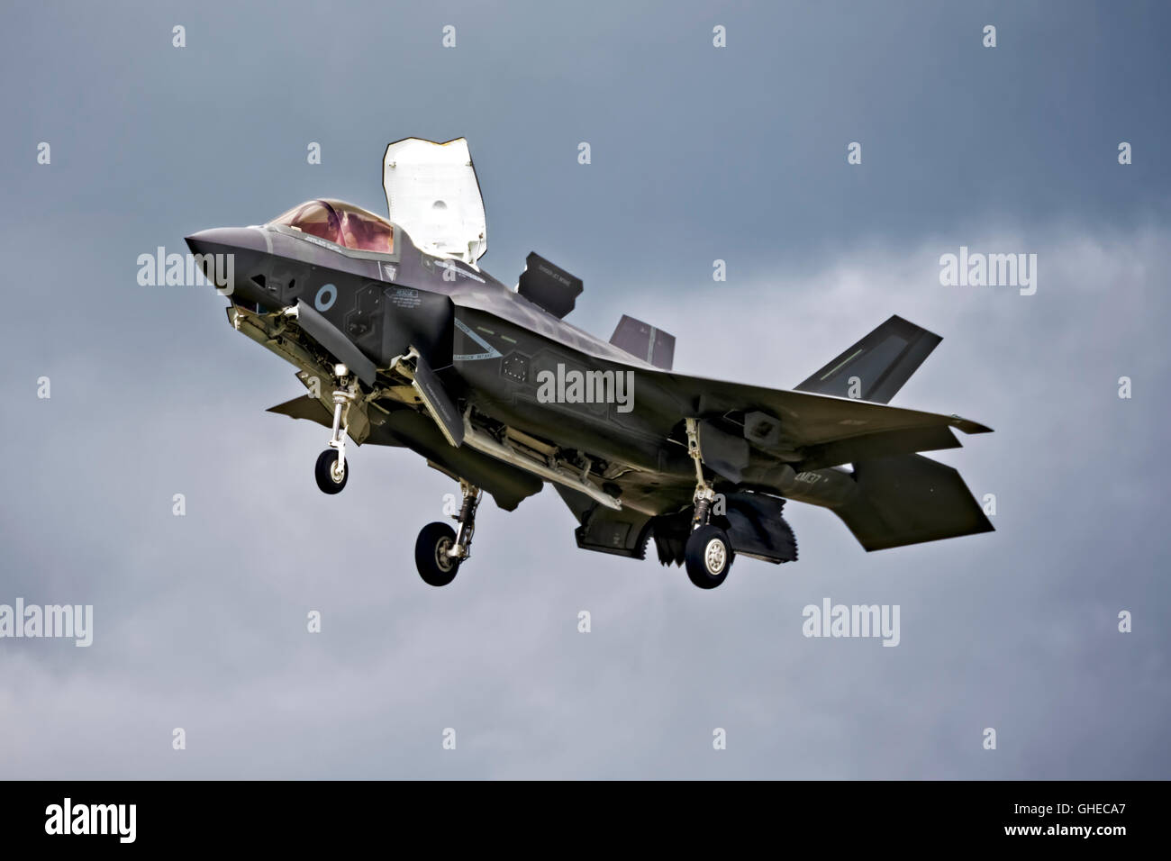 Royal Air Force Lockheed Martin F-35B Lightning ll, the Joint Strike Fighter, VMFAT/501, ZM137,RAF Fairford, Gloucestershire, - Stock Image