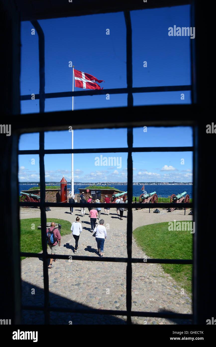 Helsingor, Denmark - July 19, 2016: View from the window of Kronborg Castle of Hamlet in Denmark - Stock Image