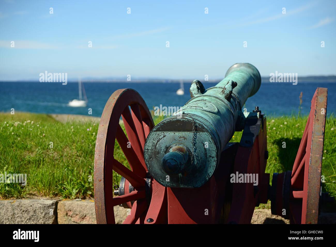 Old cannon in the Kronborg castle the Helsingor, Denmark - Stock Image