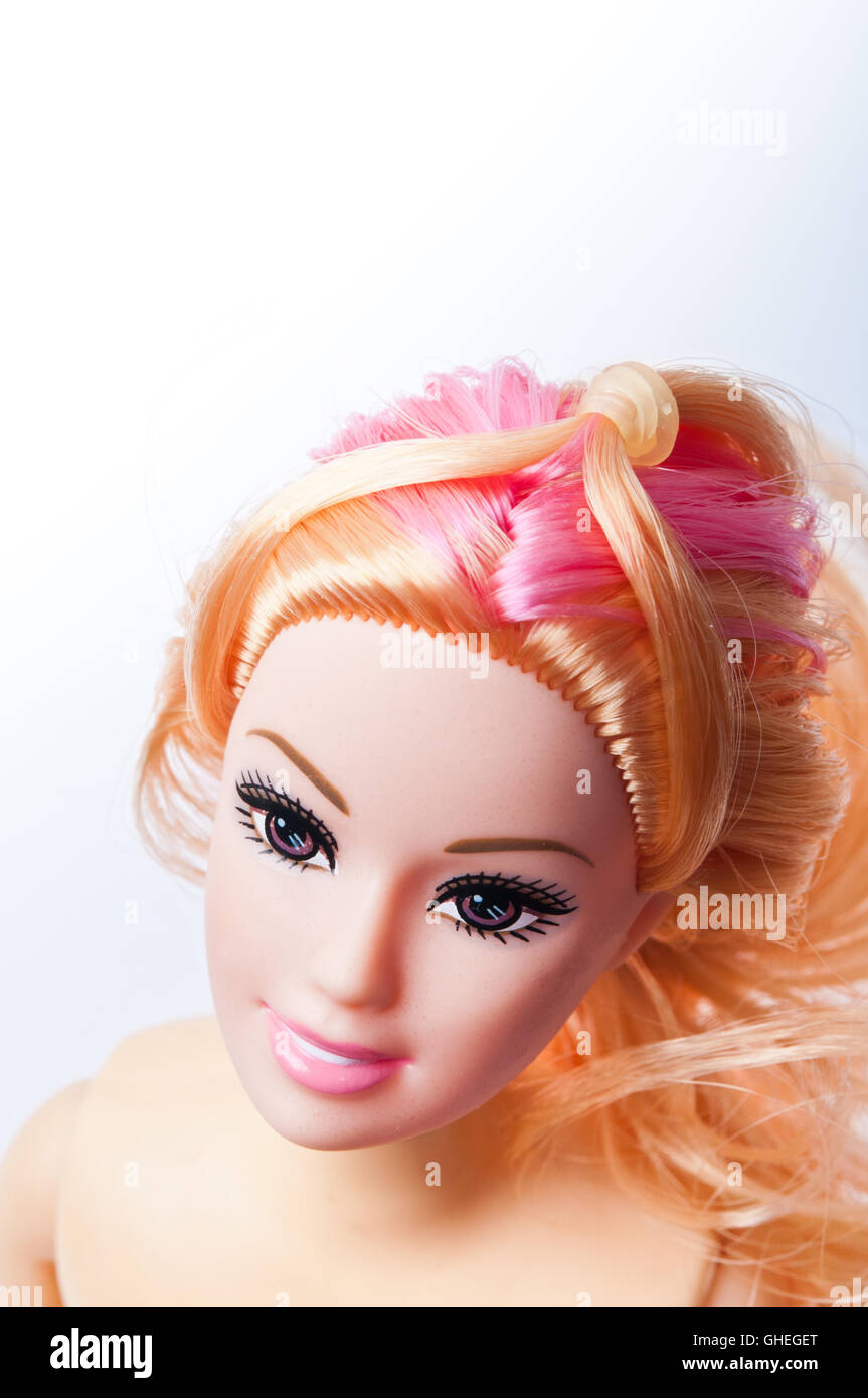 Barbie doll face - Stock Image