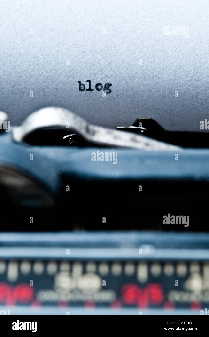typewriter with word BLOG typed on a paper - blog concept - Stock Image
