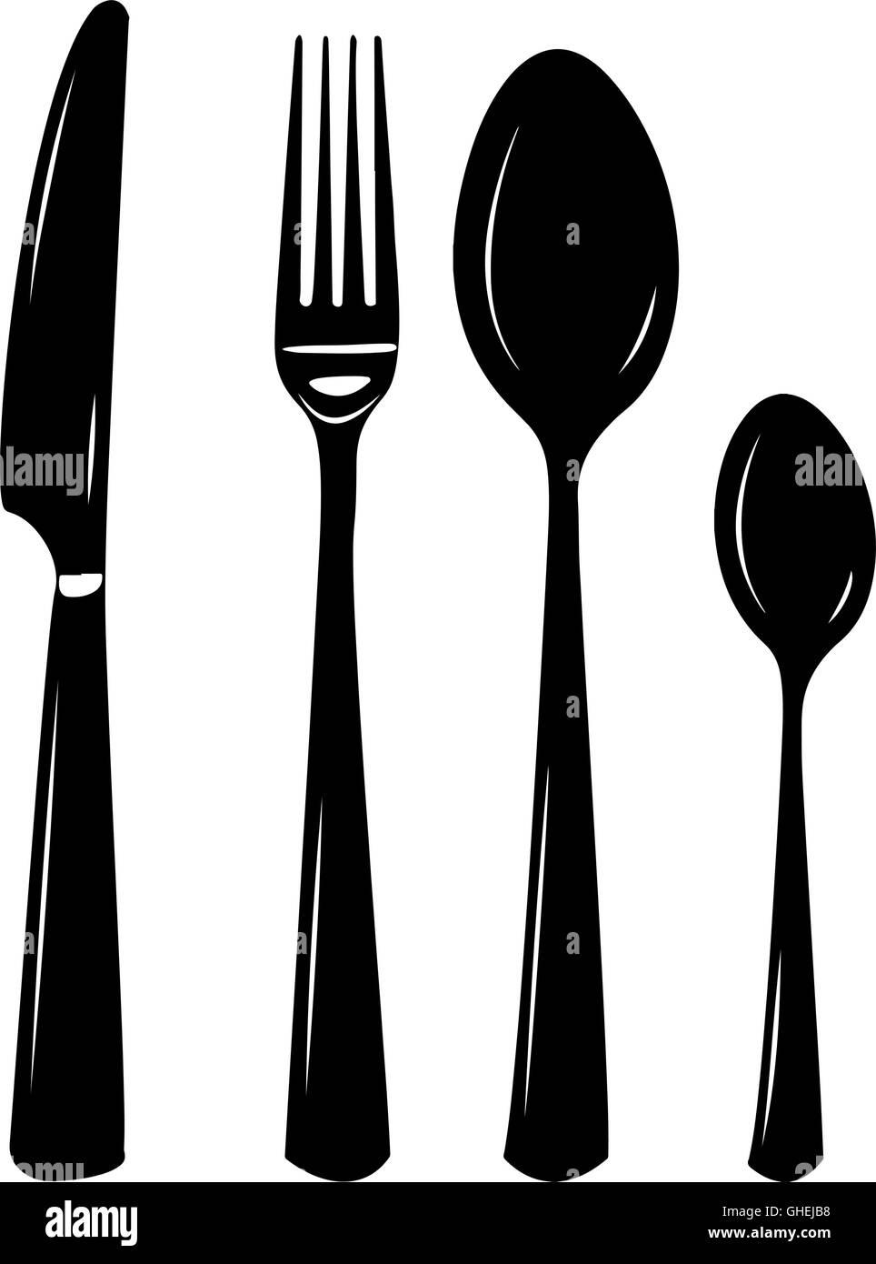 Cutlery Vector Illustration Of Knife Spoon Fork Teaspoon Stock