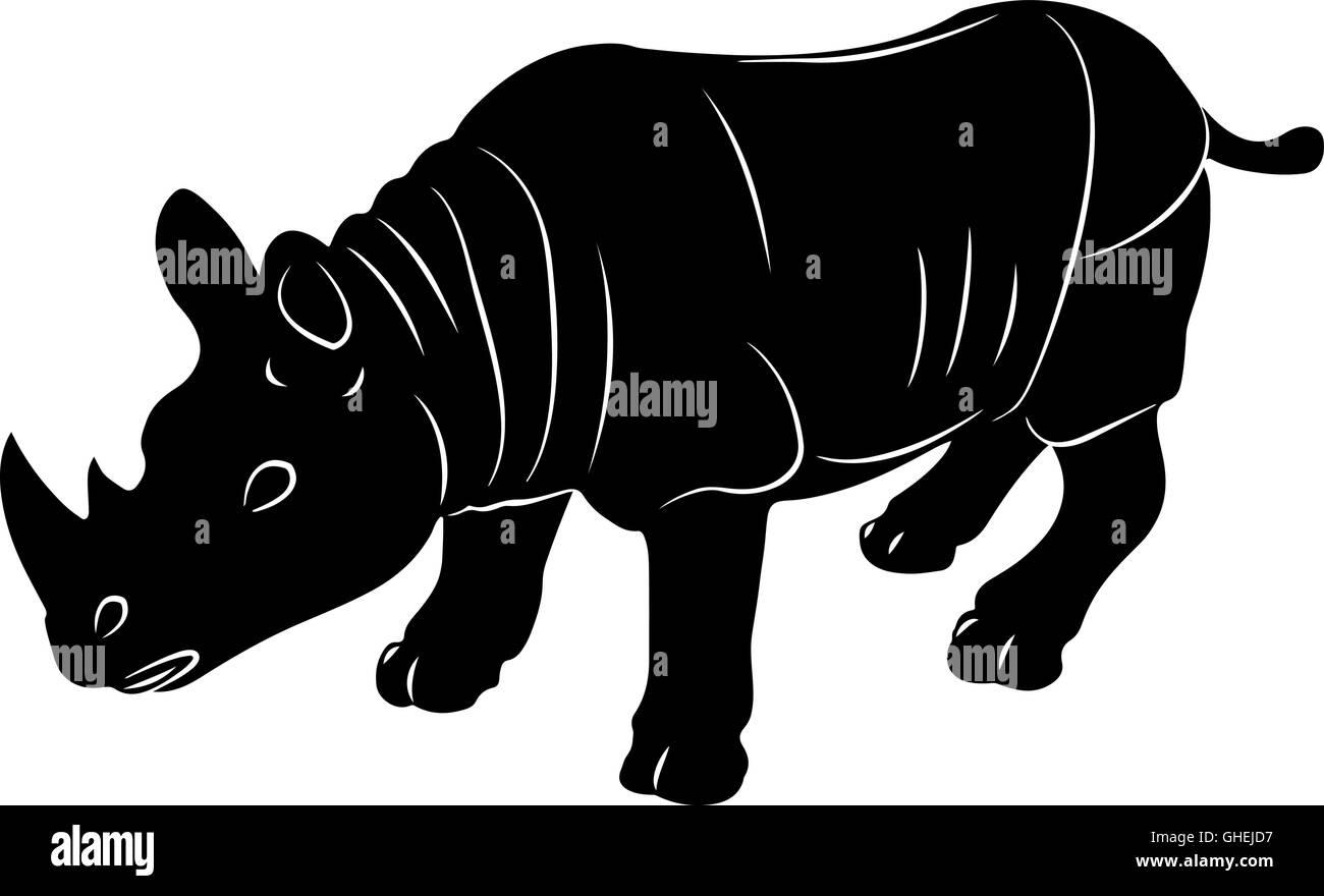 Rhino vector stylized illustration icon - Stock Image