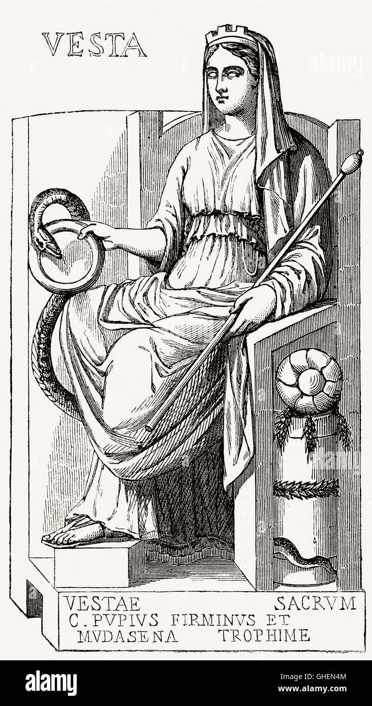 Vesta, the virgin goddess of the hearth, home, and family in Roman religion - Stock Image