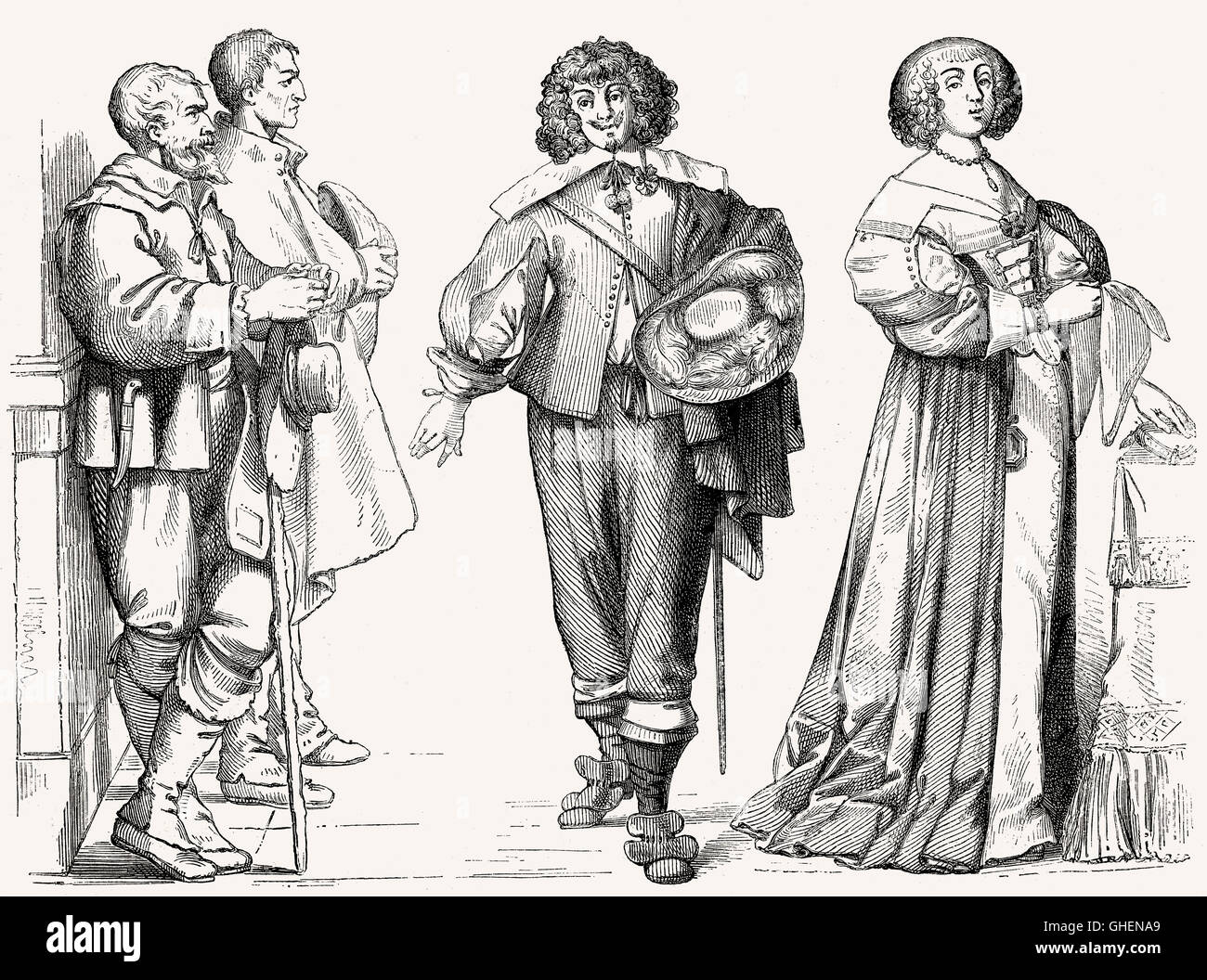 French costumes, 17th century - Stock Image