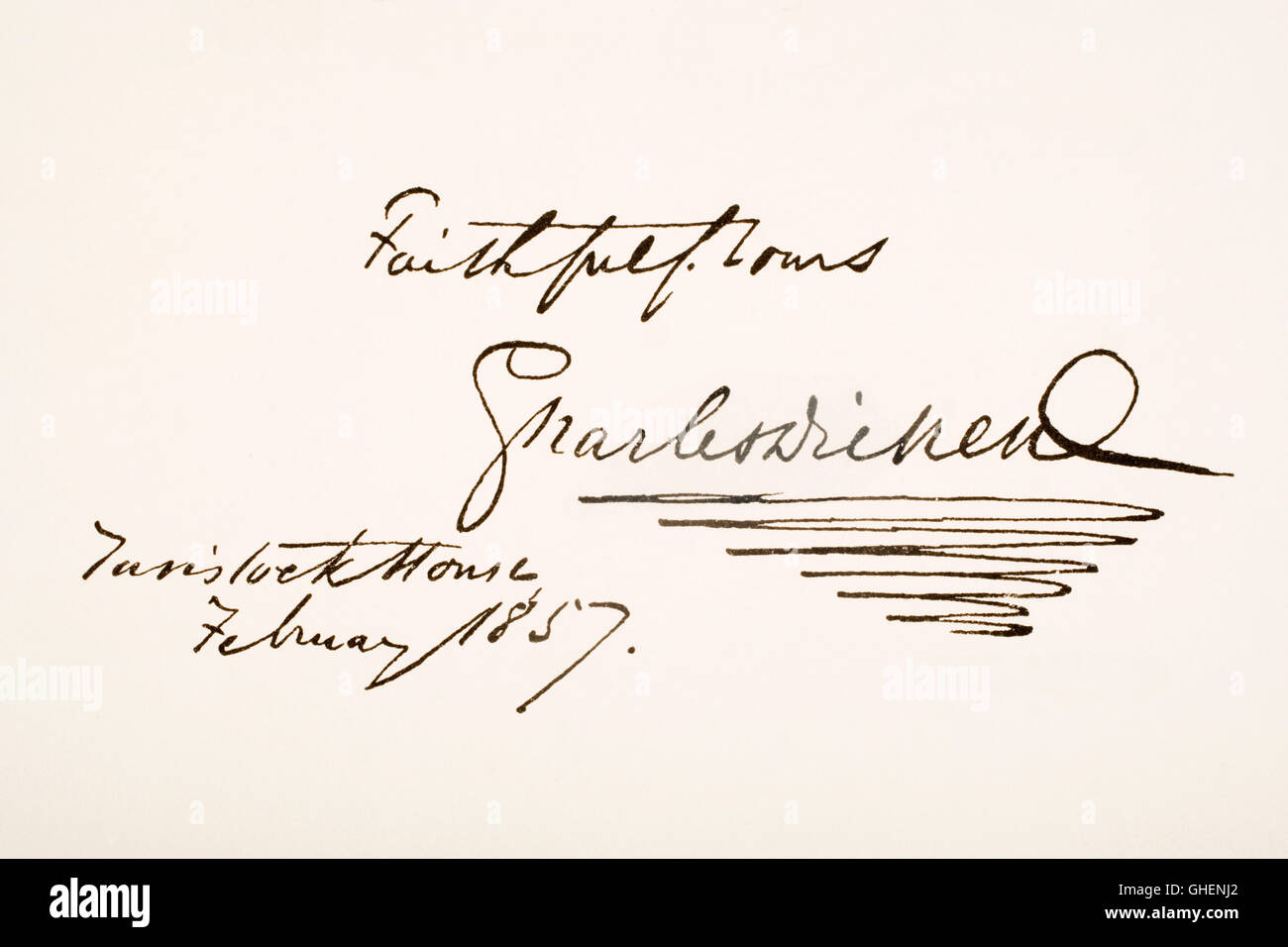Charles Dickens, 1812 - 1870. English novelist.  Hand writing sample. Stock Photo