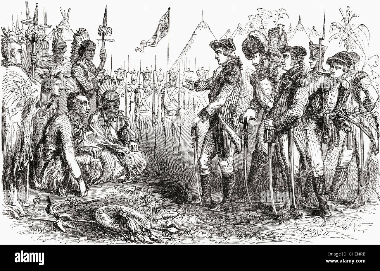 General Burgoyne recruiting the Indians as scouts prior to the Saratoga campaign in 1777.  General John Burgoyne, - Stock Image