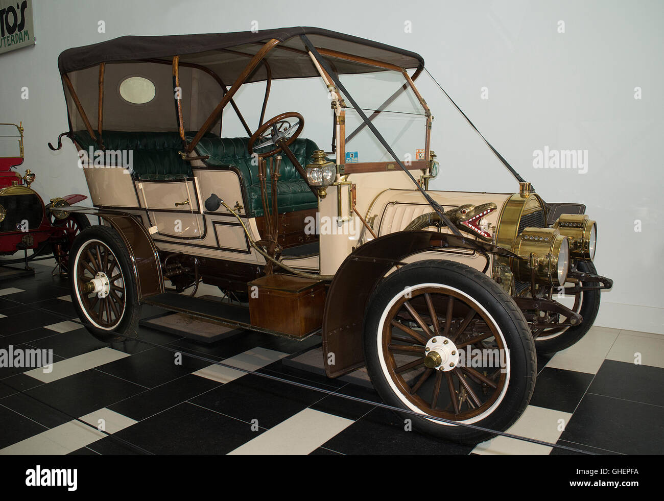 A 1907 Spyker 15/22-HP Double Phaeton at the Louwman Museum, The Hague, Netherlands Stock Photo