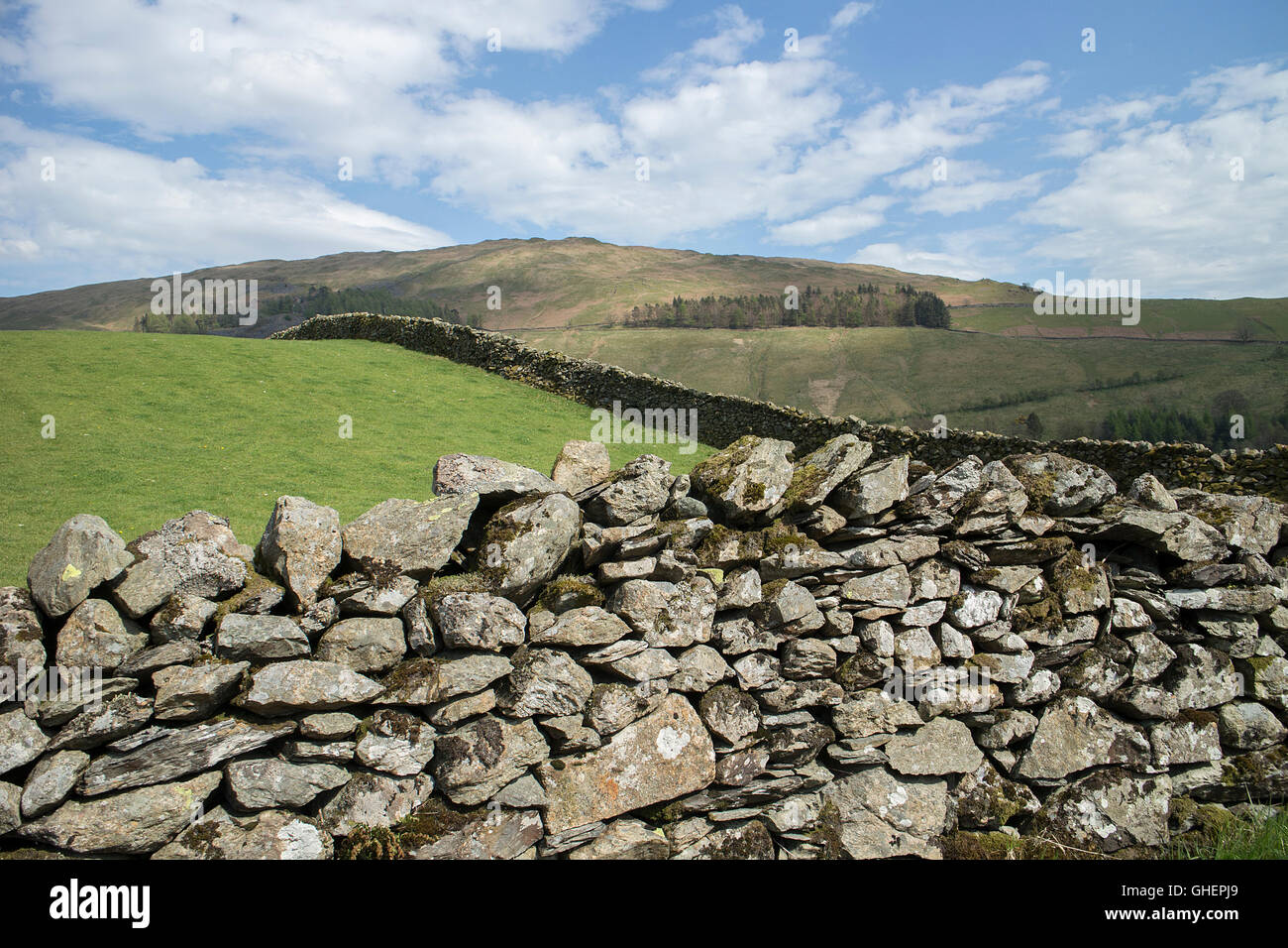 A dry stone wall with fells in background, Troutbeck (near Windermere), Cumbria - Stock Image