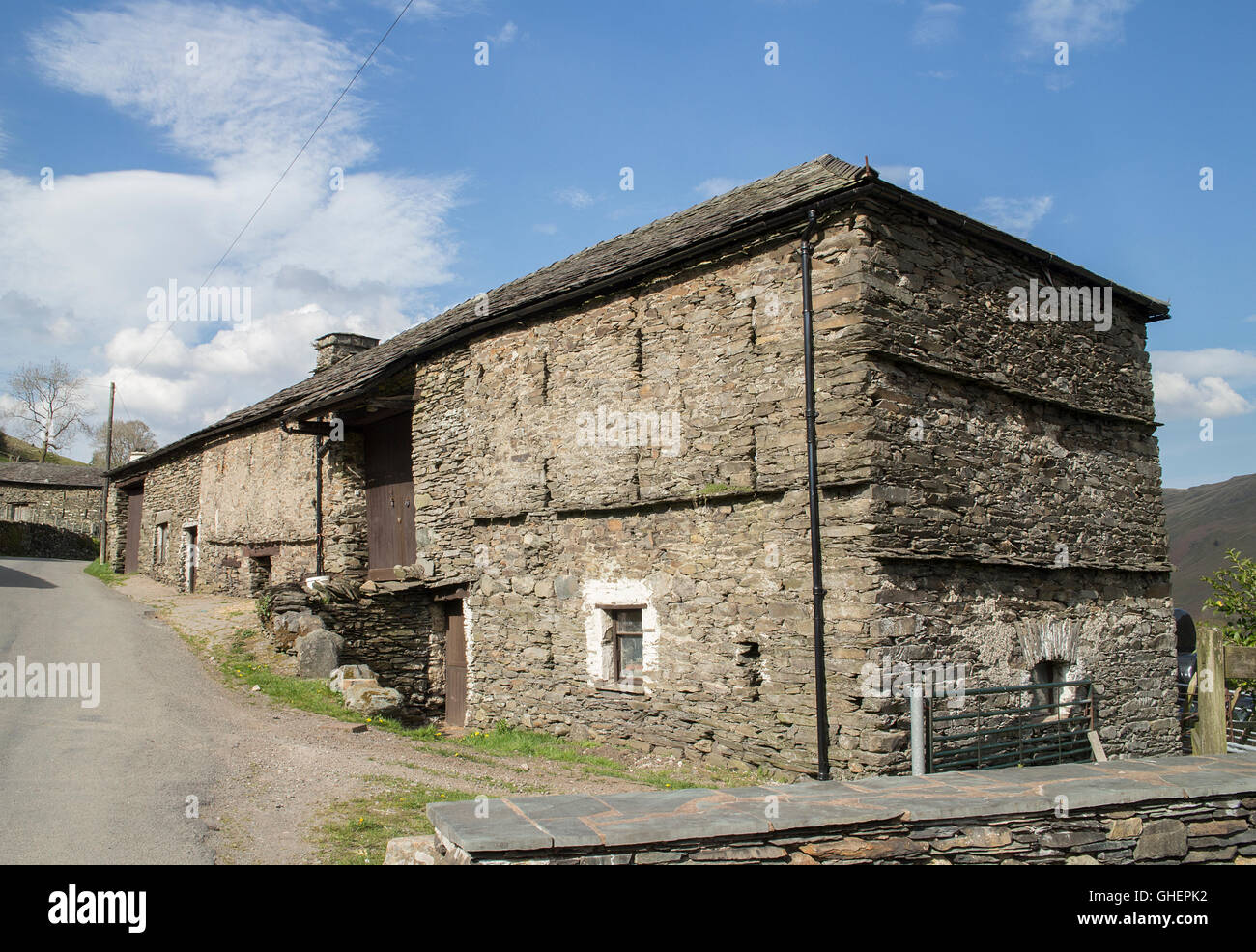Old slate-built barn, Troutbeck, near Windermere, Cumbria - Stock Image