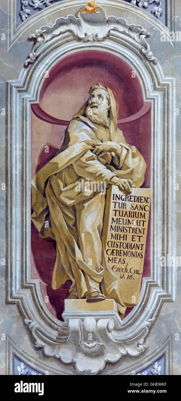 BRESCIA, ITALY - MAY 23, 2016: The fresco of prophet Ezekiel of Chiesa di Sant'Afra church by Sante Cattaneo - Stock Image