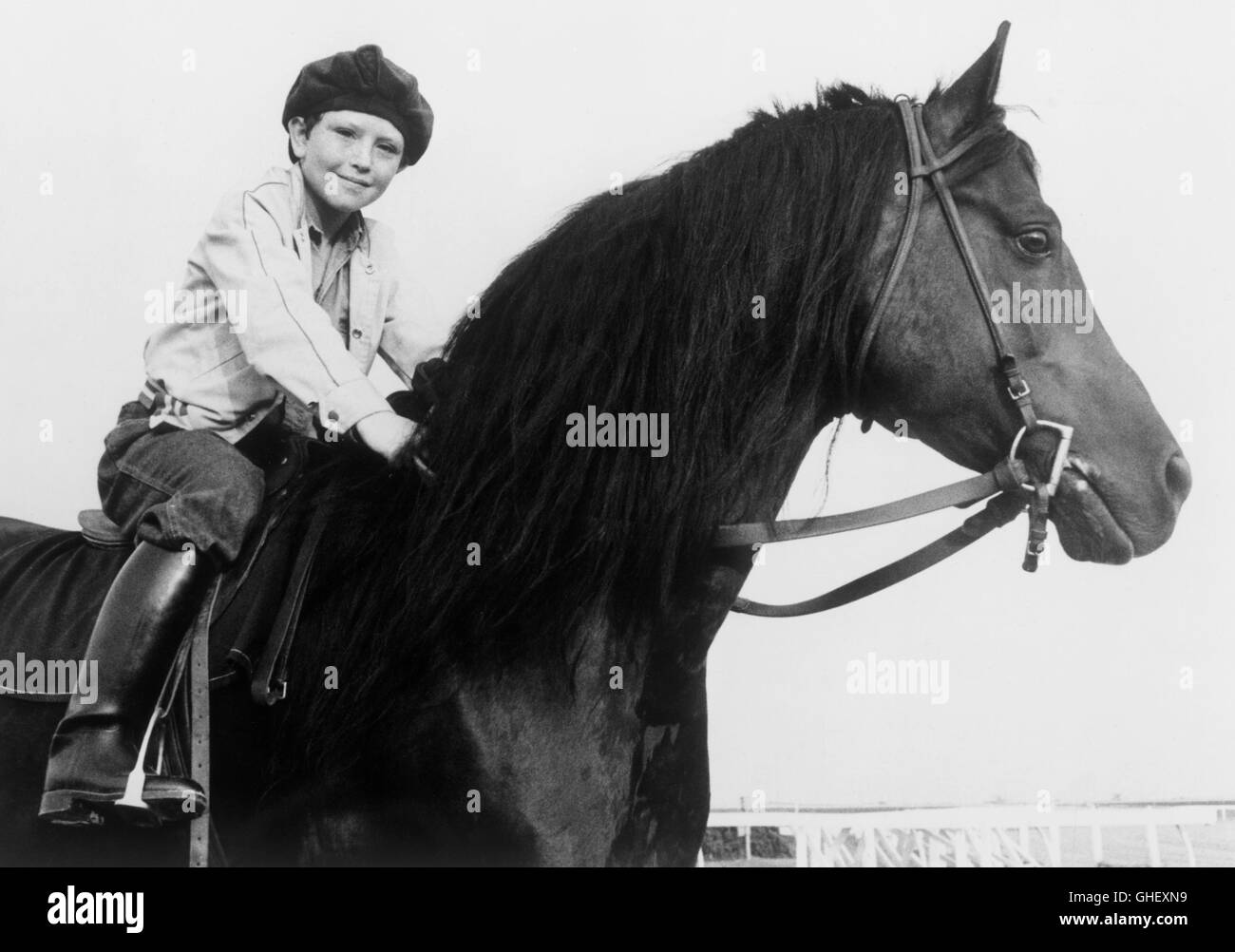 THE BLACK STALLION USA 1979 Carroll Ballard Survivors of a shipwreck and a three-month stay on a deserted island, - Stock Image