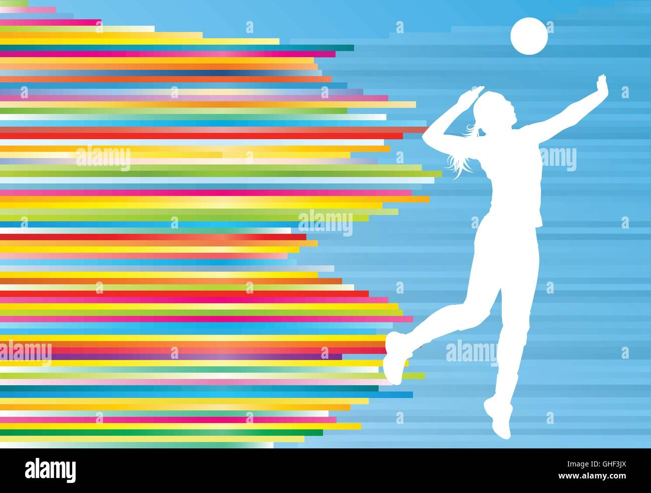 Volleyball Abstract Stock Photos Volleyball Abstract: Volleyball Player Woman Silhouette Abstract Vector