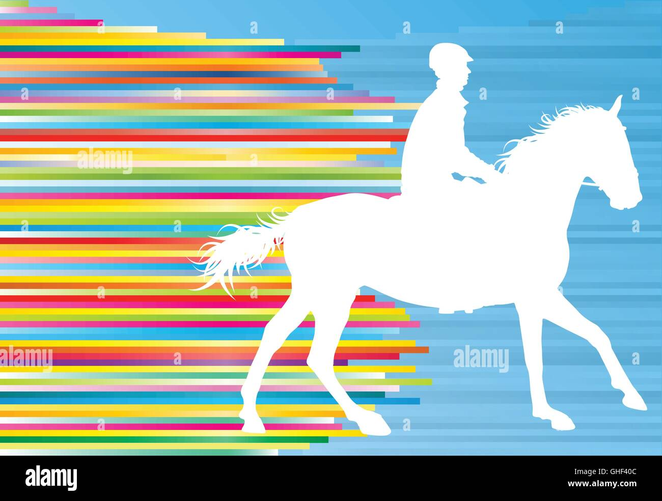 Equestrian sport horse jumping vector abstract illustration background with colorful lines - Stock Vector