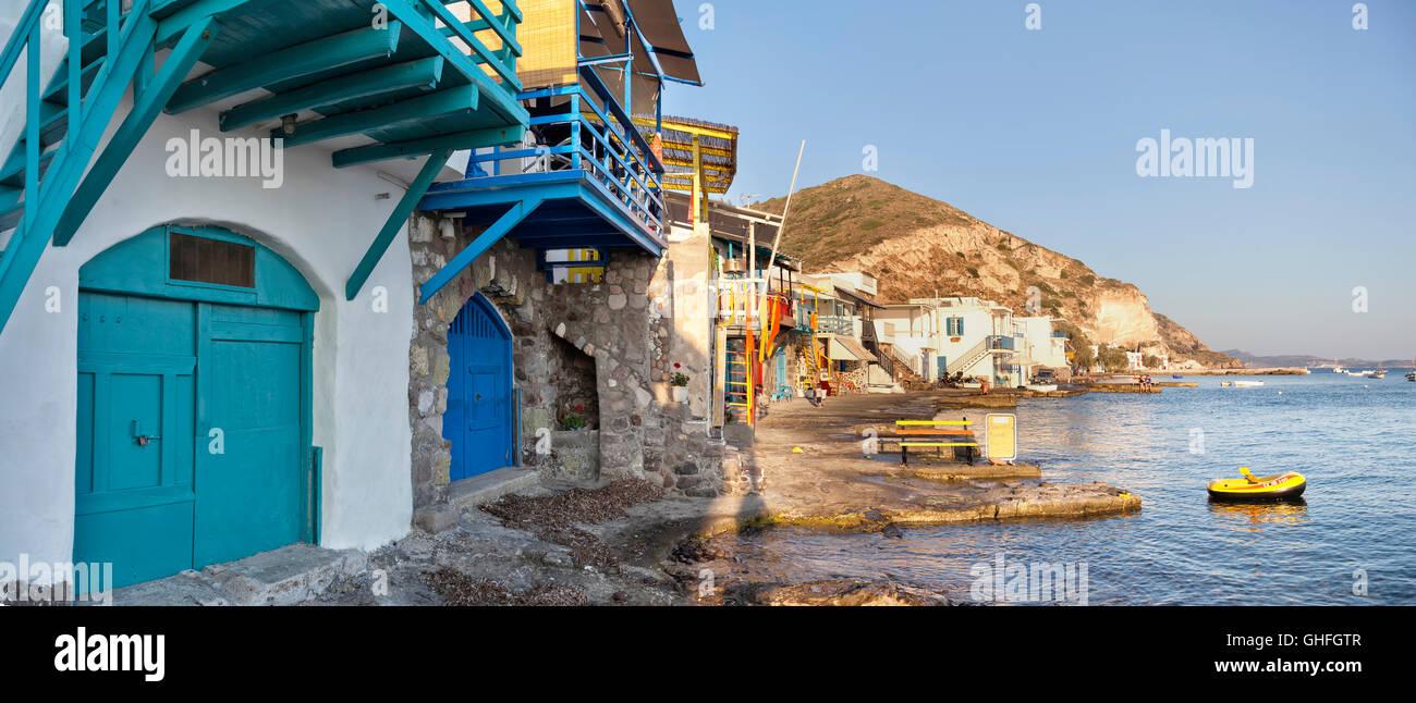 Colorful village of Klima in Milos island, Greece - Stock Image