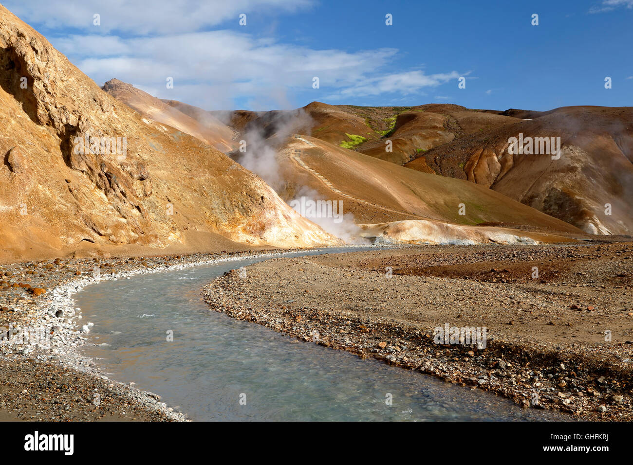 Rhyolite mountains, stream and fumaroles, Kerlingarfjoll, Iceland - Stock Image