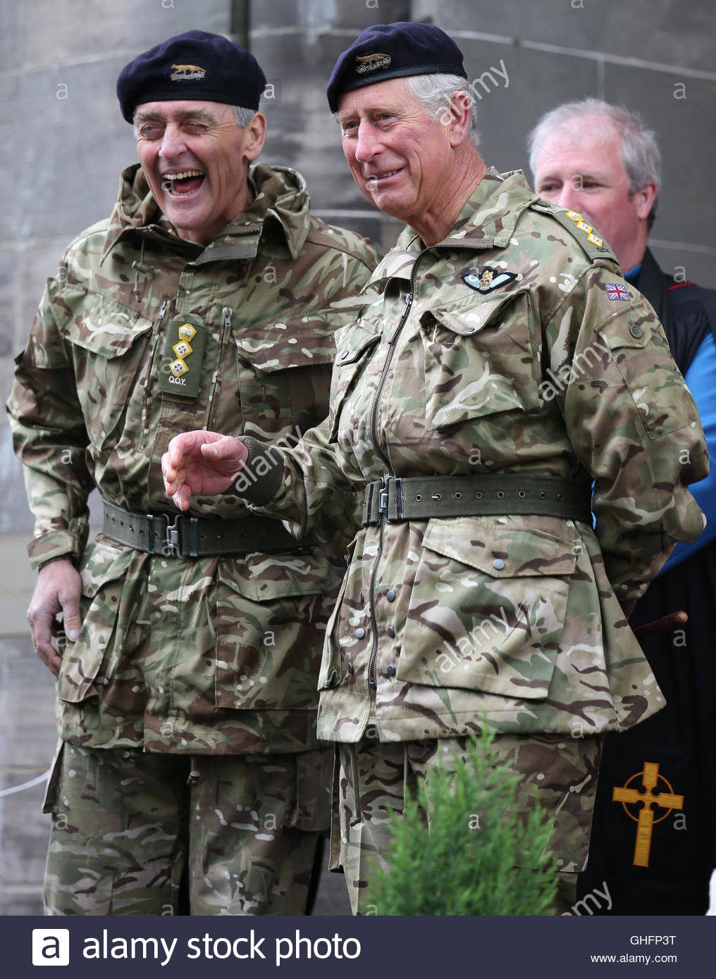 File photo dated 3/5/2014 of the Prince of Wales, Royal Colonel for the Queens Own Yeomanry, flanked by the Duke Stock Photo