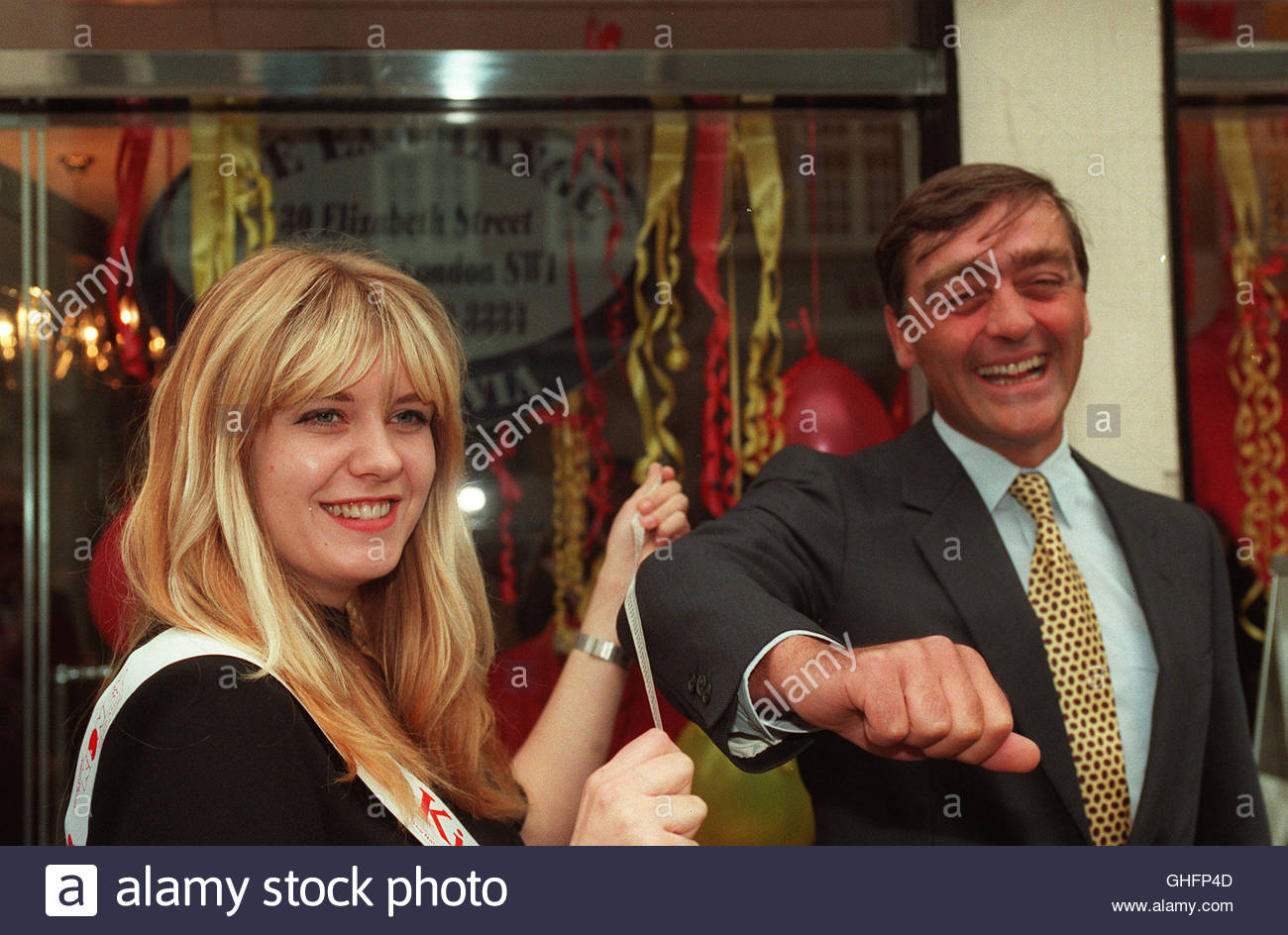 File photo dated 13/9/1995 of the Duke of Westminster being measured by Petra Roddis when he opened the National - Stock Image