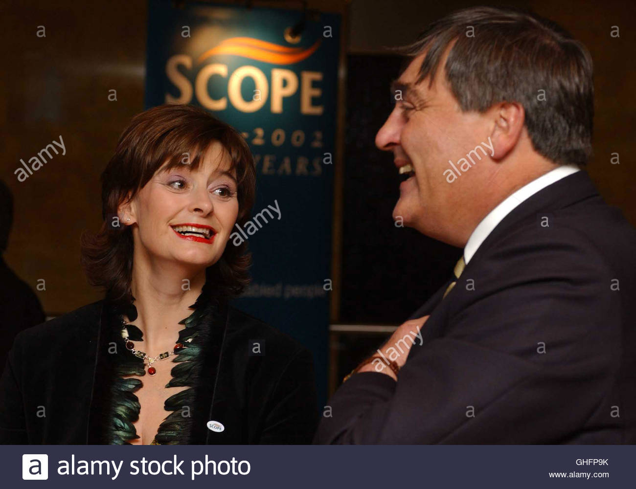 File photo dated 4/12/2002 of the Duke of Westminster greets Cherie Booth QC during a special reception at The Duke's - Stock Image