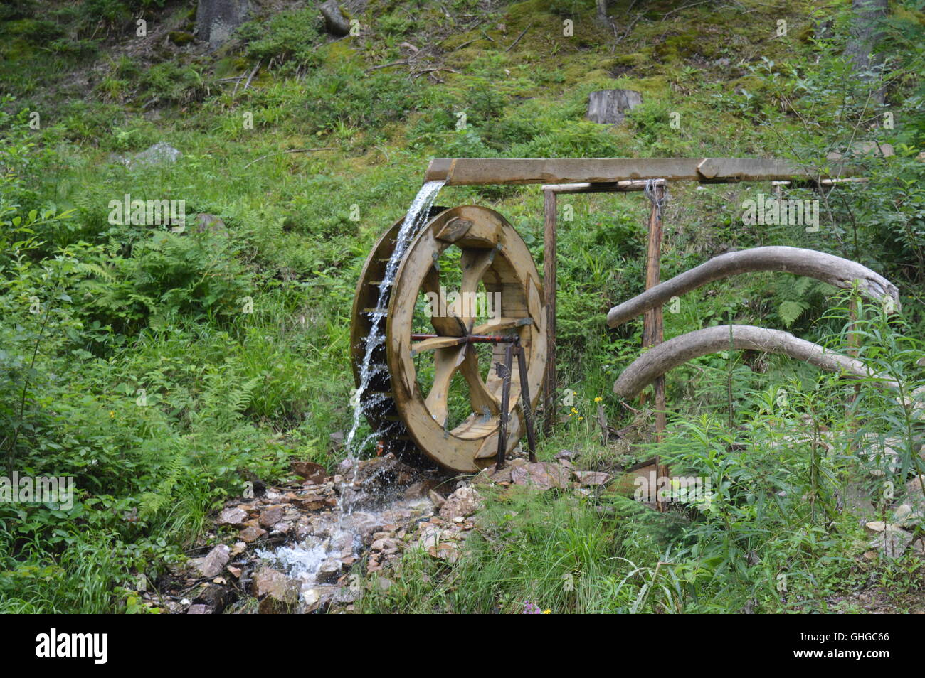 A mill wheel in a forest - Stock Image