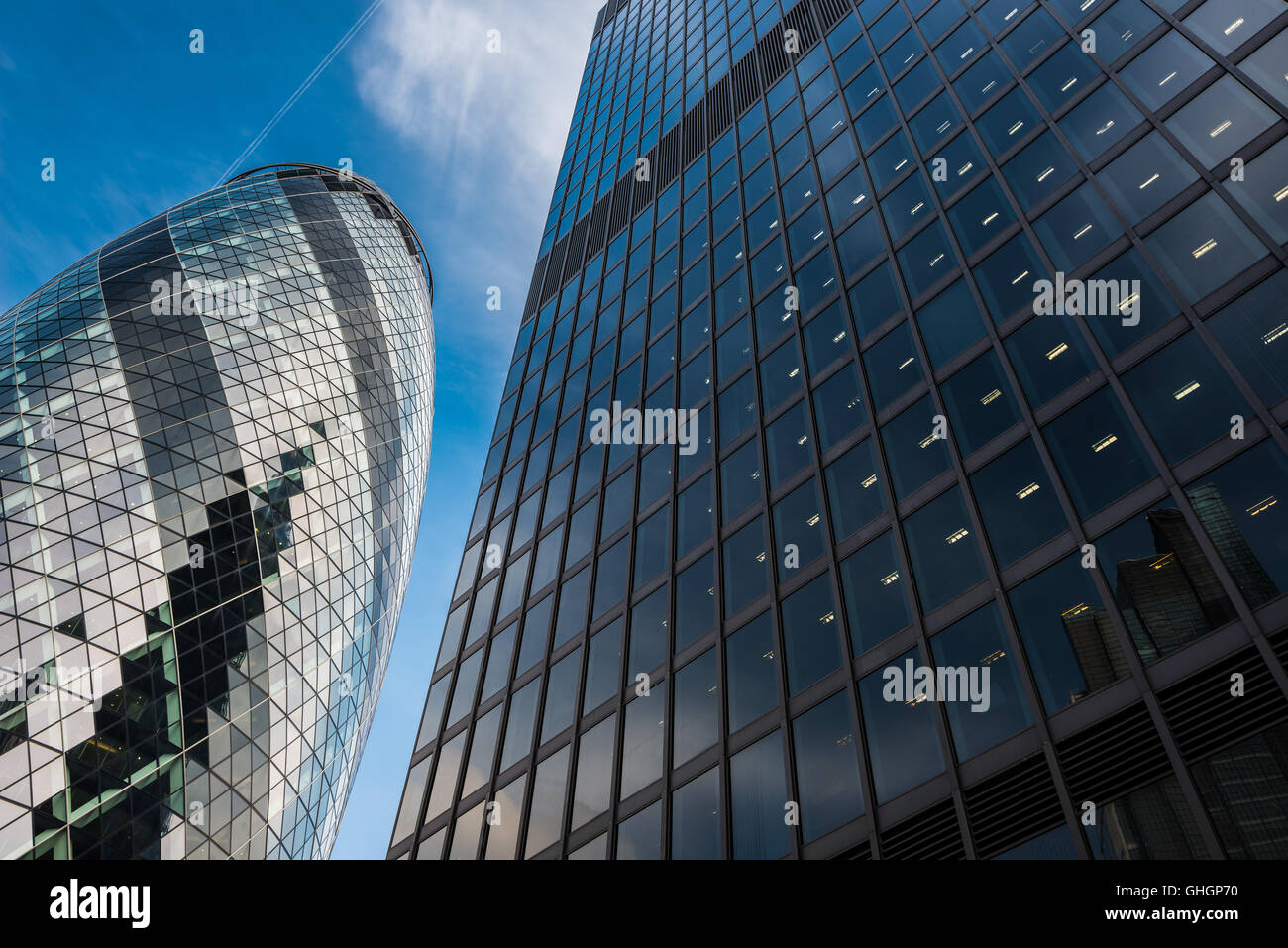 The Gherkin office building, City of London, London, United Kingdom - Stock Image