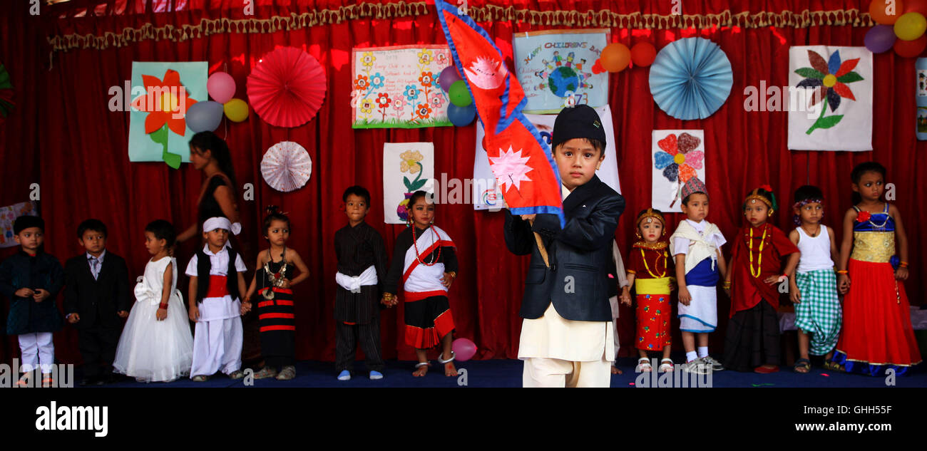 Kathmandu, Nepal. 14th Sep, 2016. Nepalese children in traditional attire perform to celebrate the National Children's Stock Photo