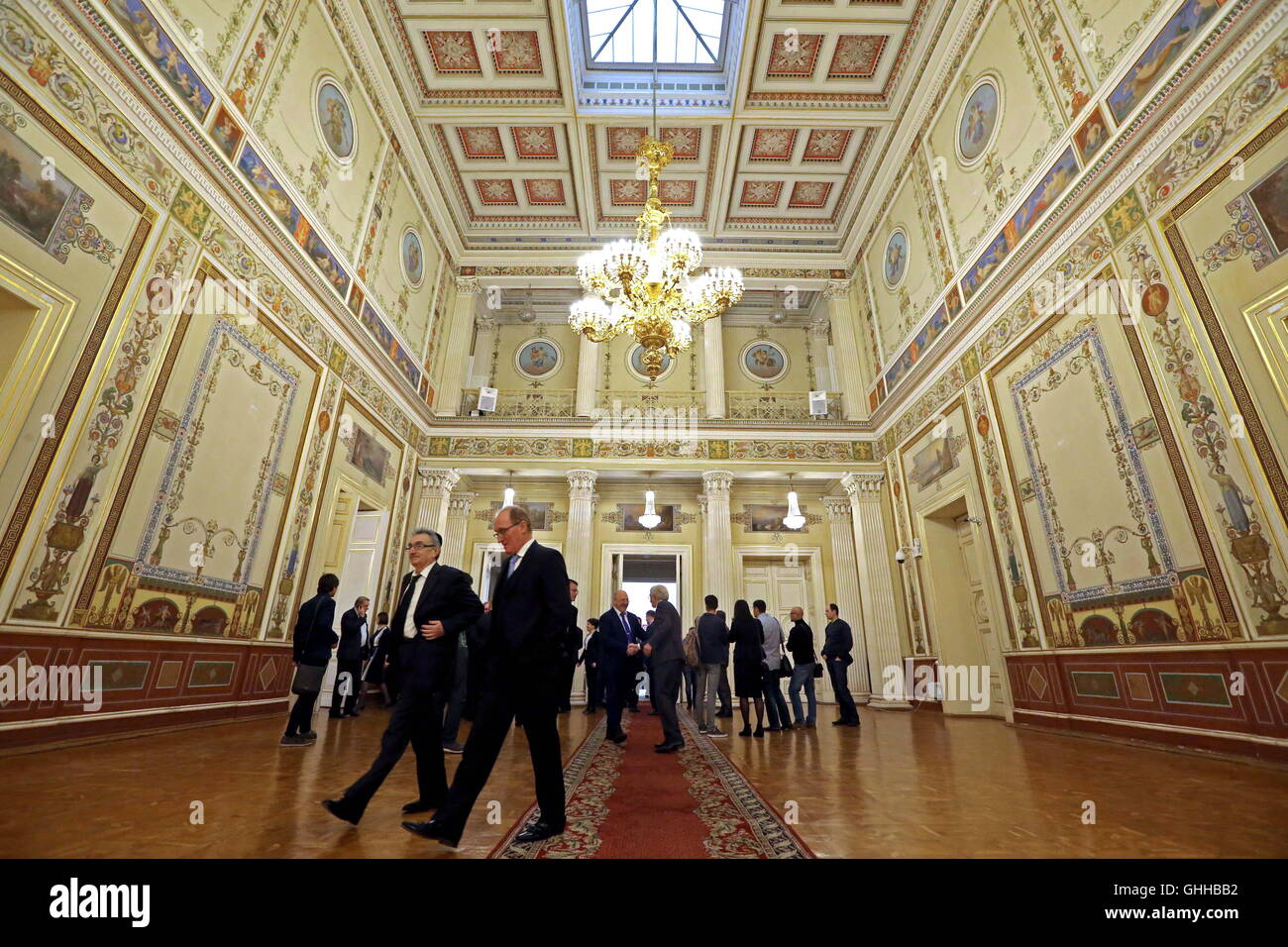 St Petersburg, Russia. 28th Sep, 2016. St Petersburg's Legislative Assembly members arrive for the first plenary - Stock Image