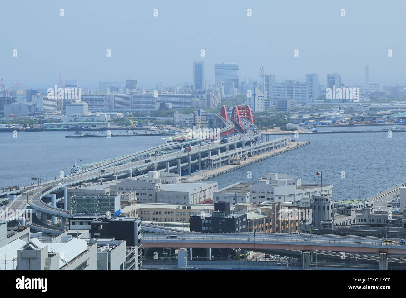 Port Island Kobe city view in Kobe Japan. - Stock Image