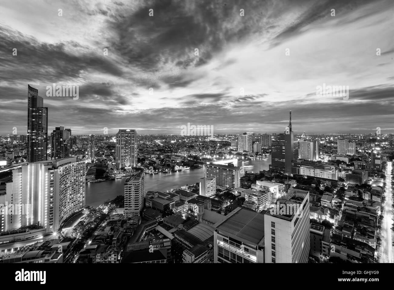 black white Skyline of Bangkok and the Chao Phraya river - Stock Image