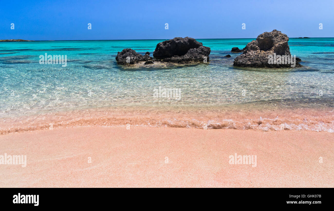 Pink Sand Of The Elafonisi Beach Island Of Crete Greece