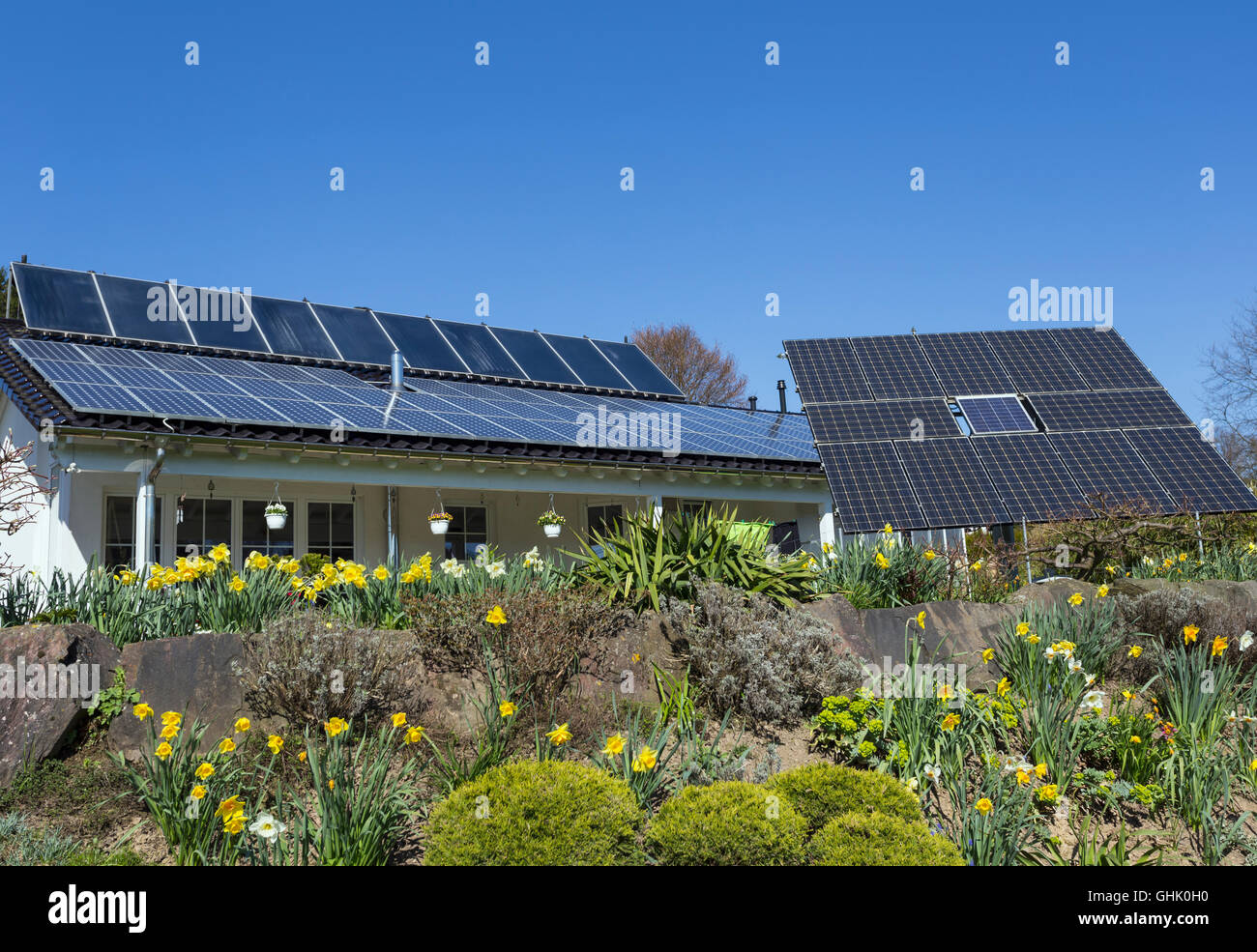 Solar panels on roof - Stock Image