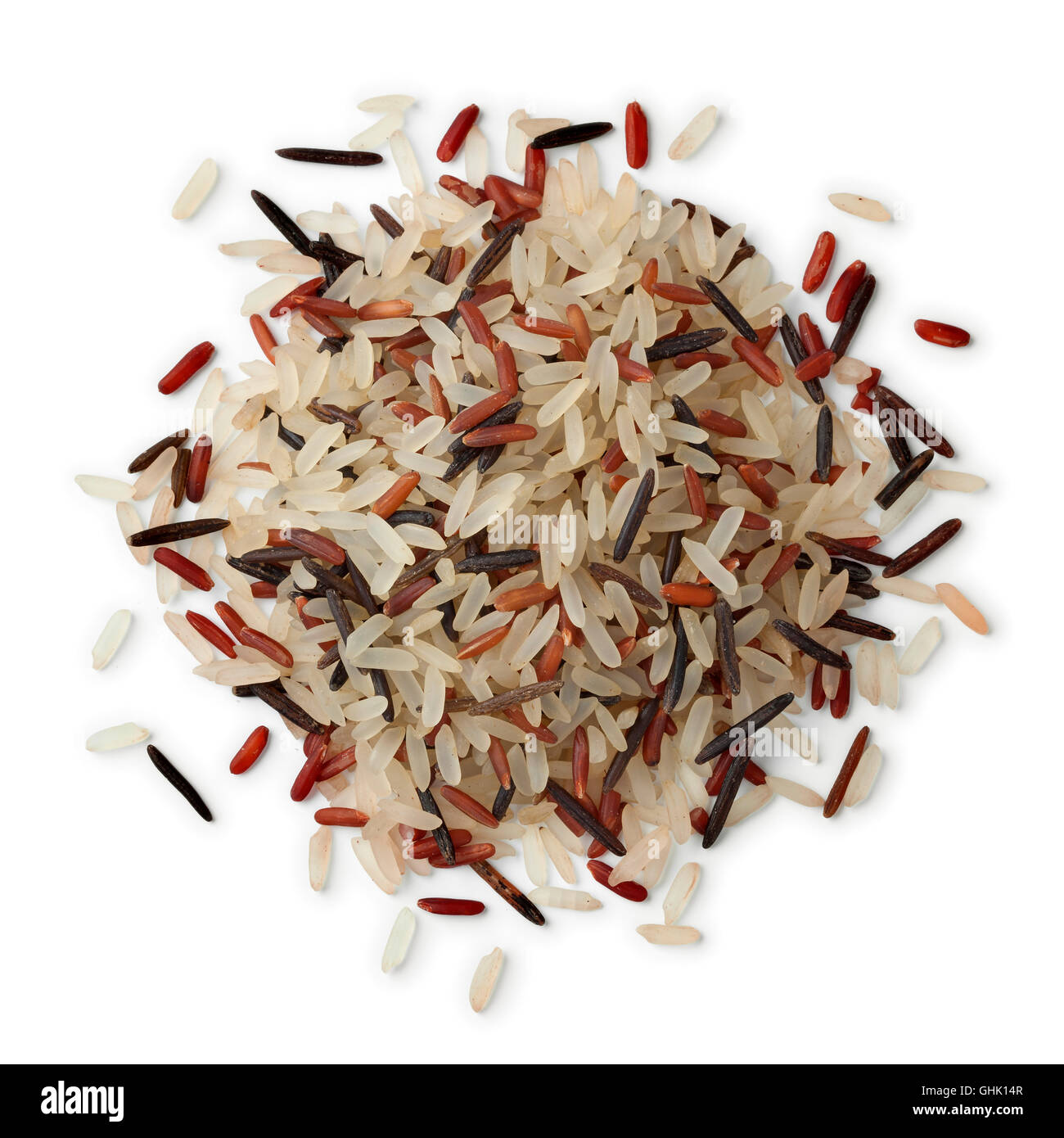 Heap of wild, red and white rice mix on white background - Stock Image