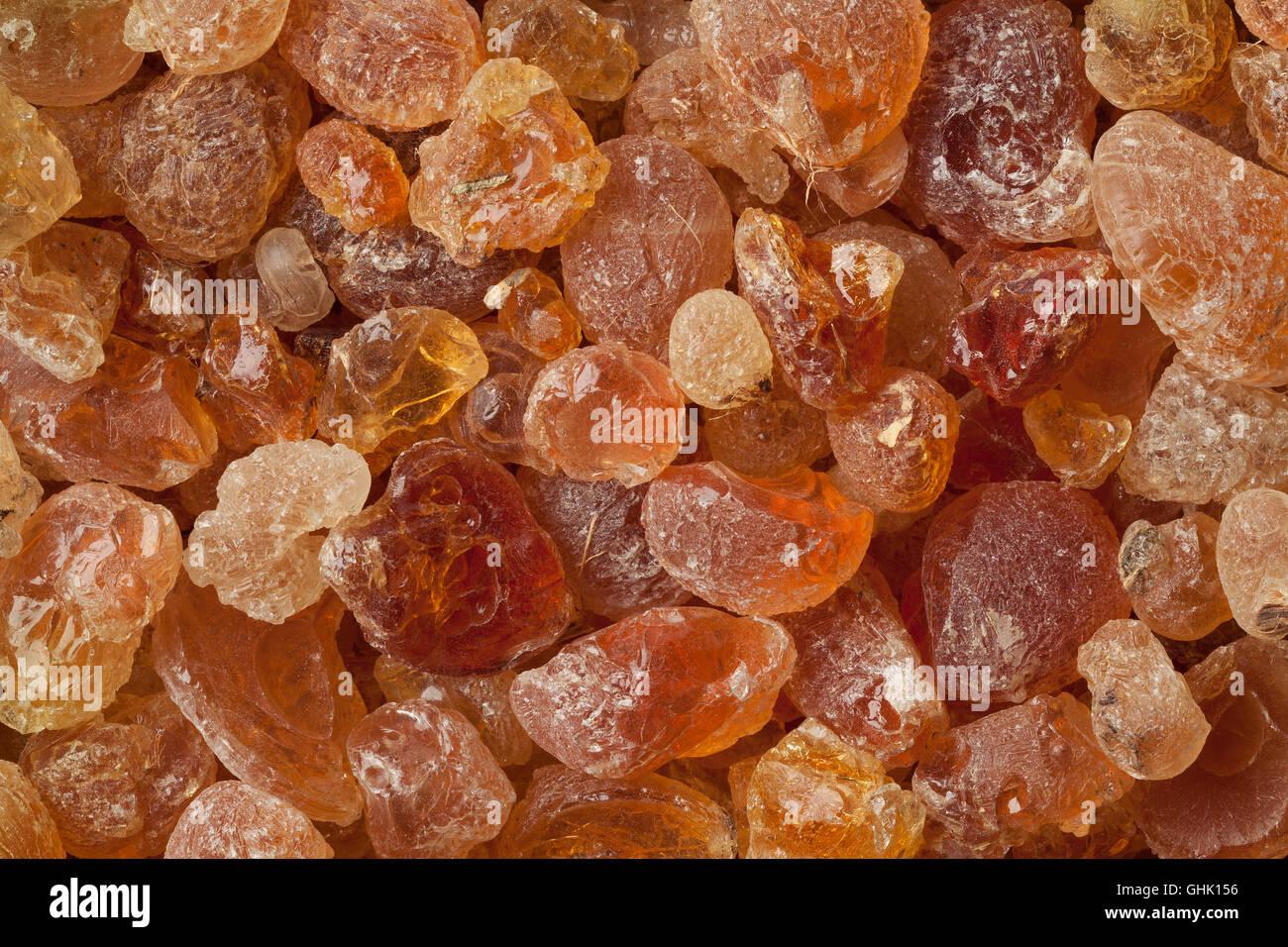 Pieces of Gum arabic full frame - Stock Image