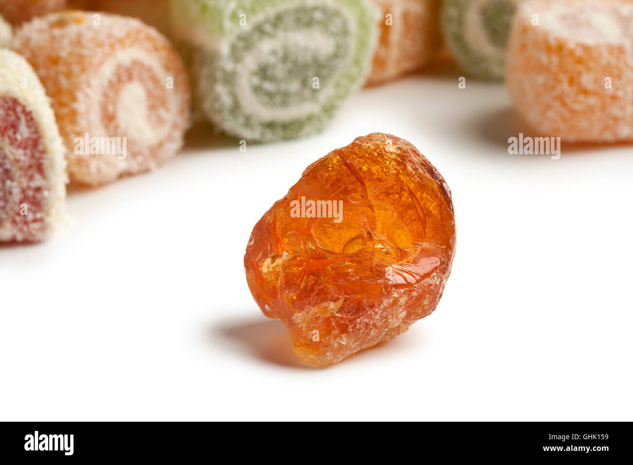 Piece of Gum arabic with turkish delight in the background - Stock Image