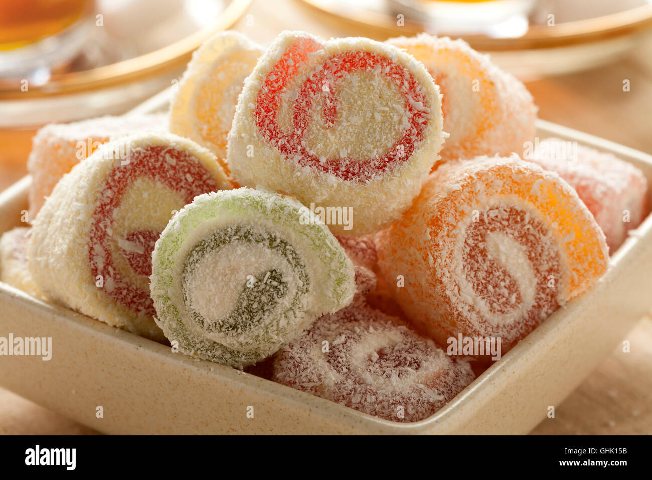 Traditional Turkish delight with tea - Stock Image