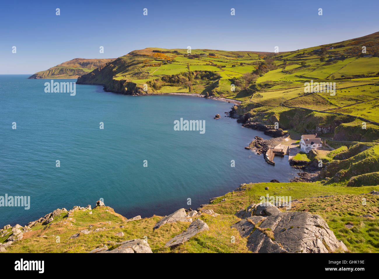 View from Torr Head on the Causeway Coast of Northern Ireland on a sunny day. - Stock Image