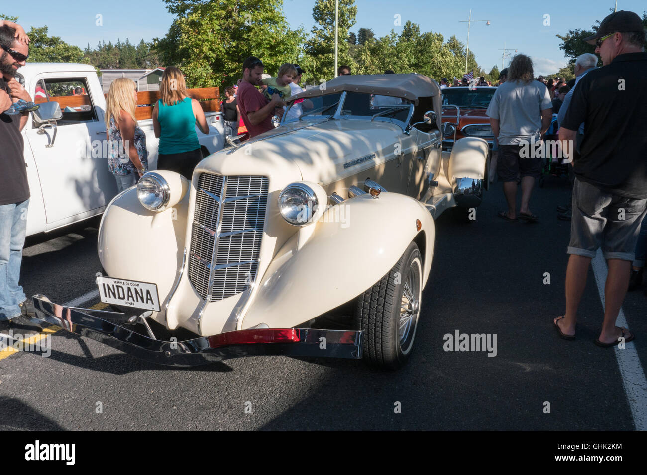 1934 Duesenberg Auburn convertible car on show at Americarna classic car show Inglewood, New Plymouth, New Zealand. - Stock Image
