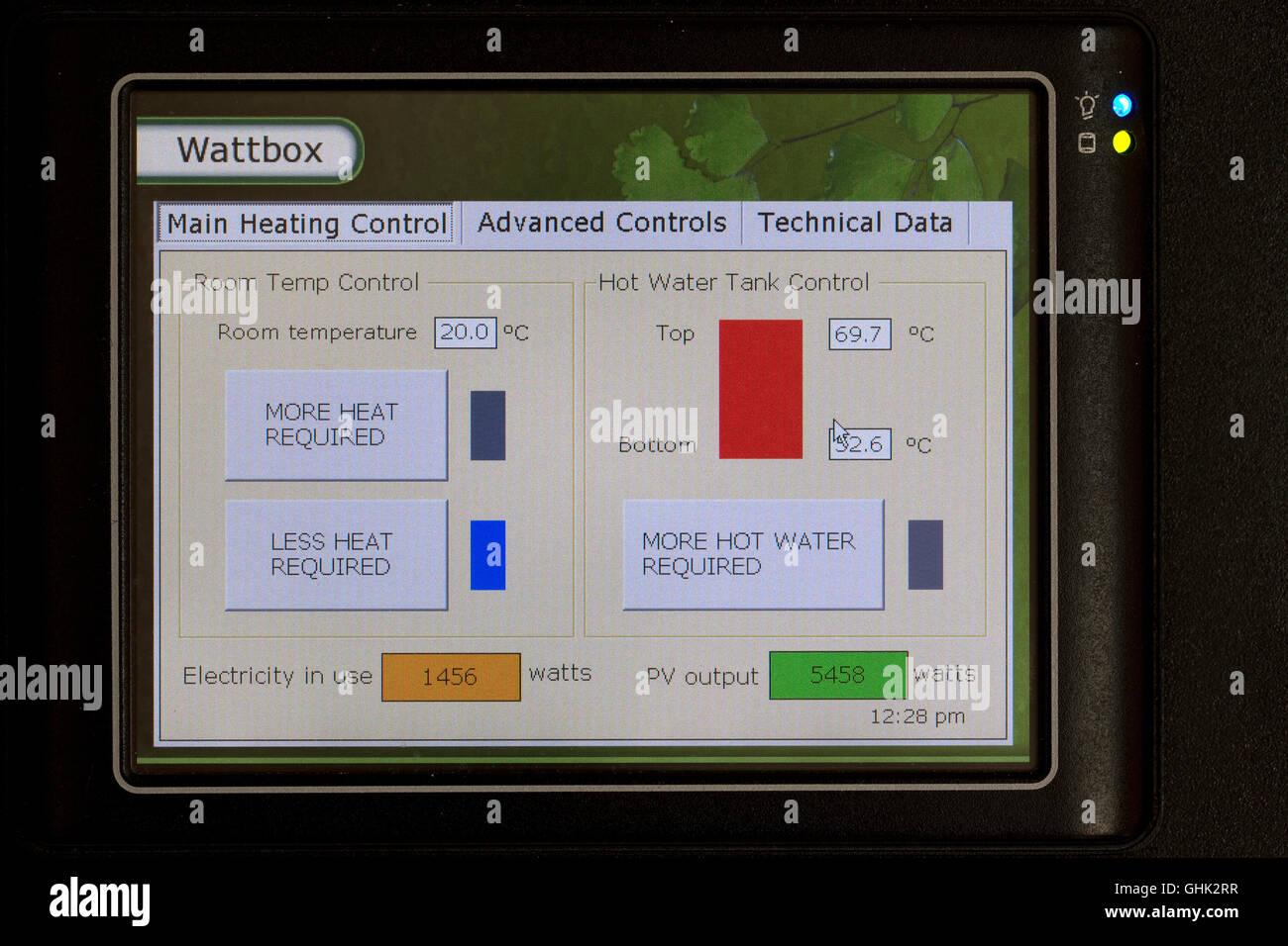 Wattbox energy meter on wall displaying generation solar energy UK - Stock Image