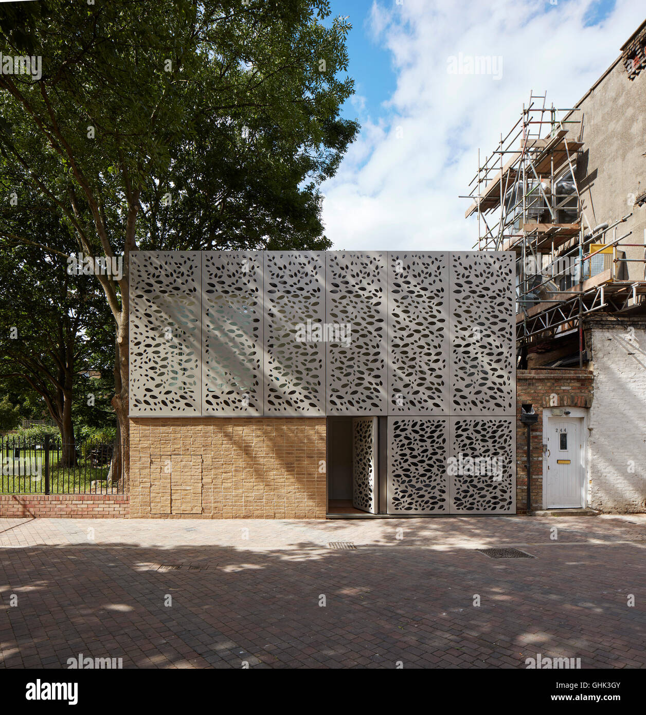 Front Elevation Of Houses In London : Perforated metal screen architecture stock photos