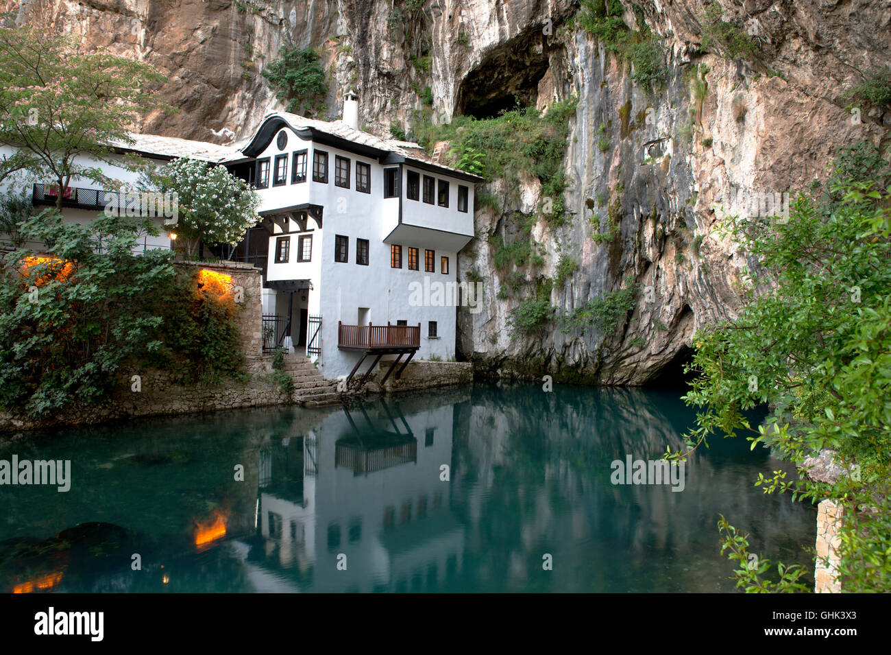 Small nice village Blagaj on Buna spring and waterfall in Bosnia and Herzegovina - Stock Image
