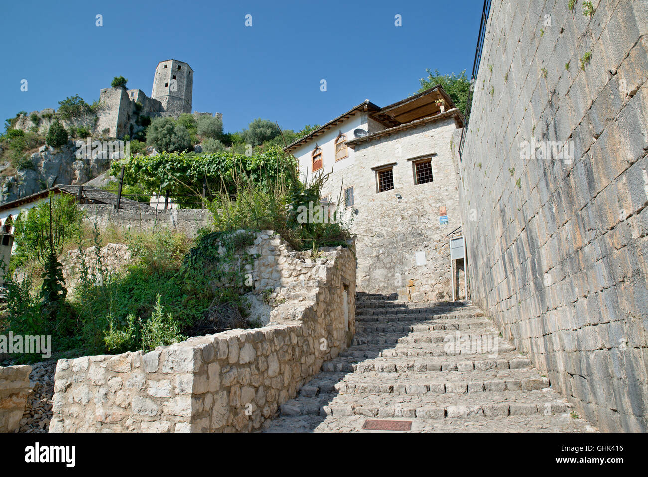 nice Panoramic view of Pocitelj, medieval city in Bosnia and Hercegovina - Stock Image