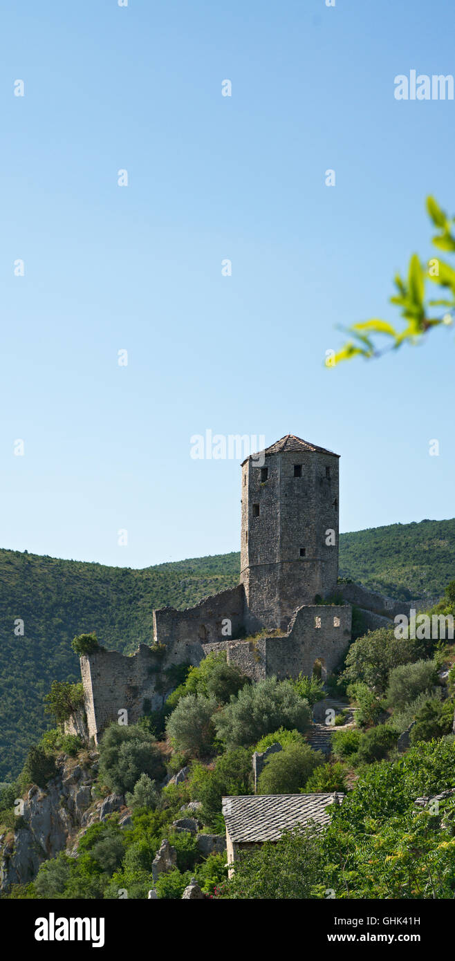 nice Panoramic view of Pocitelj, medieval city in Bosnia and Hercegovina Stock Photo