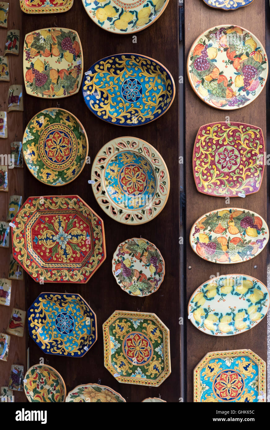 Traditional ceramics on sale in Tropea, Calabria, Italy Stock Photo