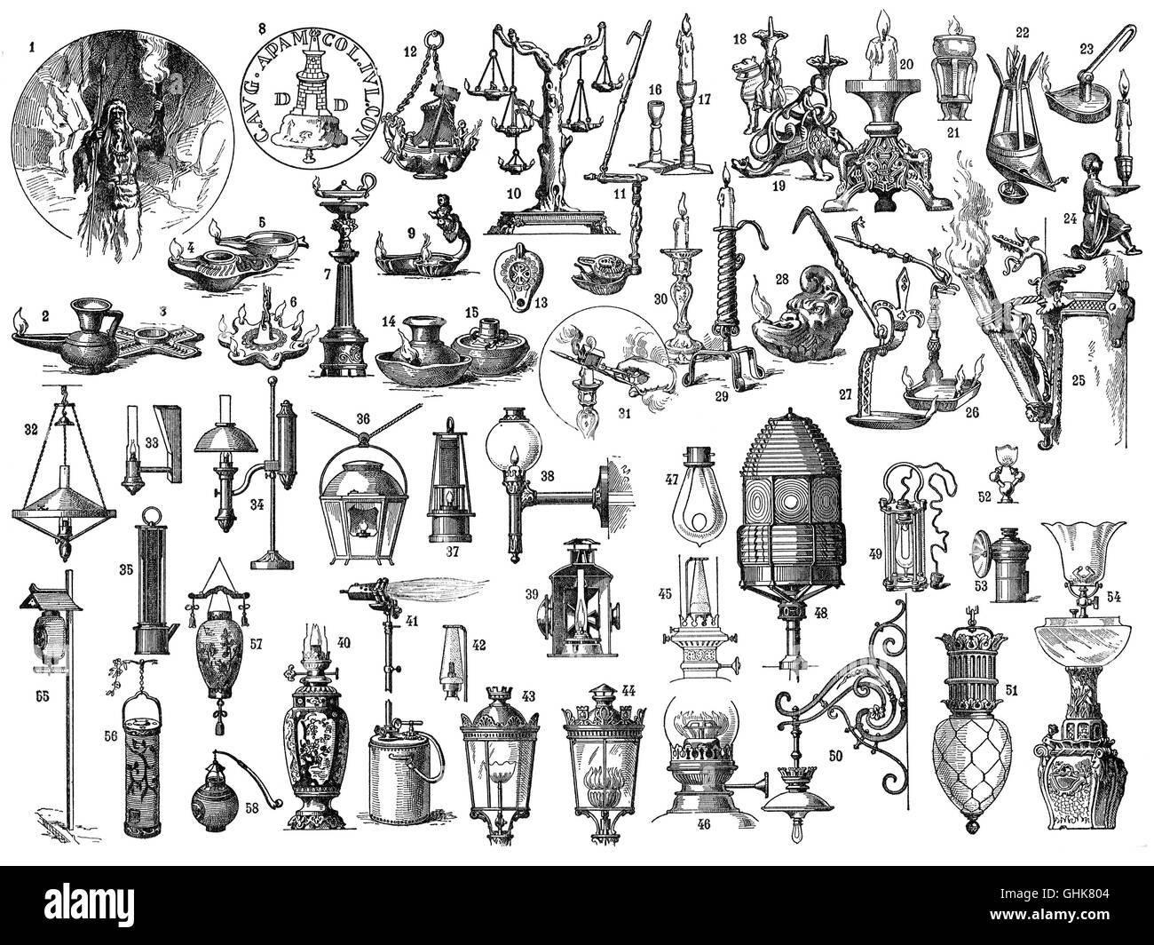 Lighting, Prehistoric to 19th Century - Stock Image