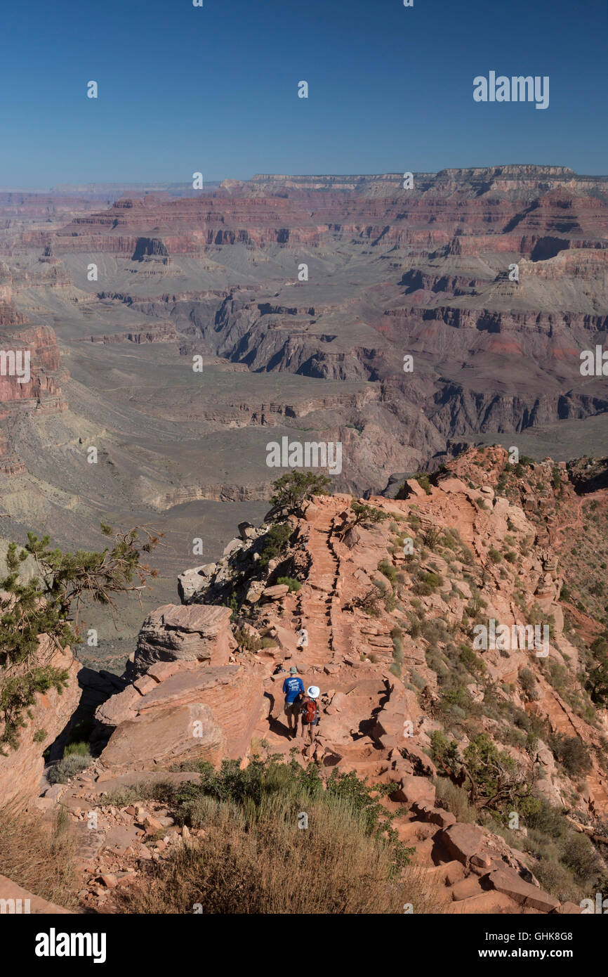 Grand Canyon National Park, Arizona - Hikers on the South Kaibab Trail. - Stock Image