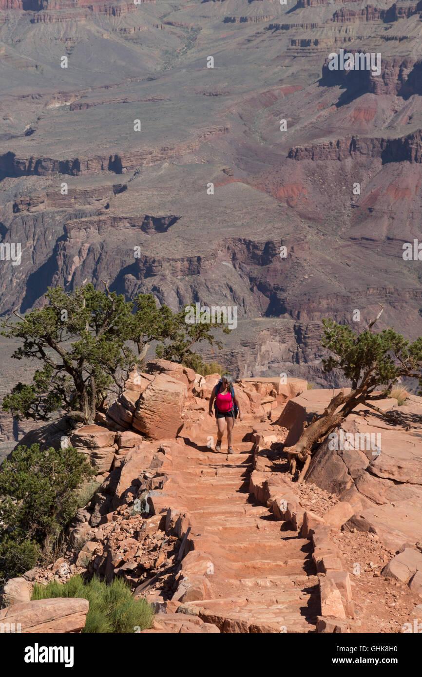 Grand Canyon National Park, Arizona - A hiker on the South Kaibab Trail. - Stock Image