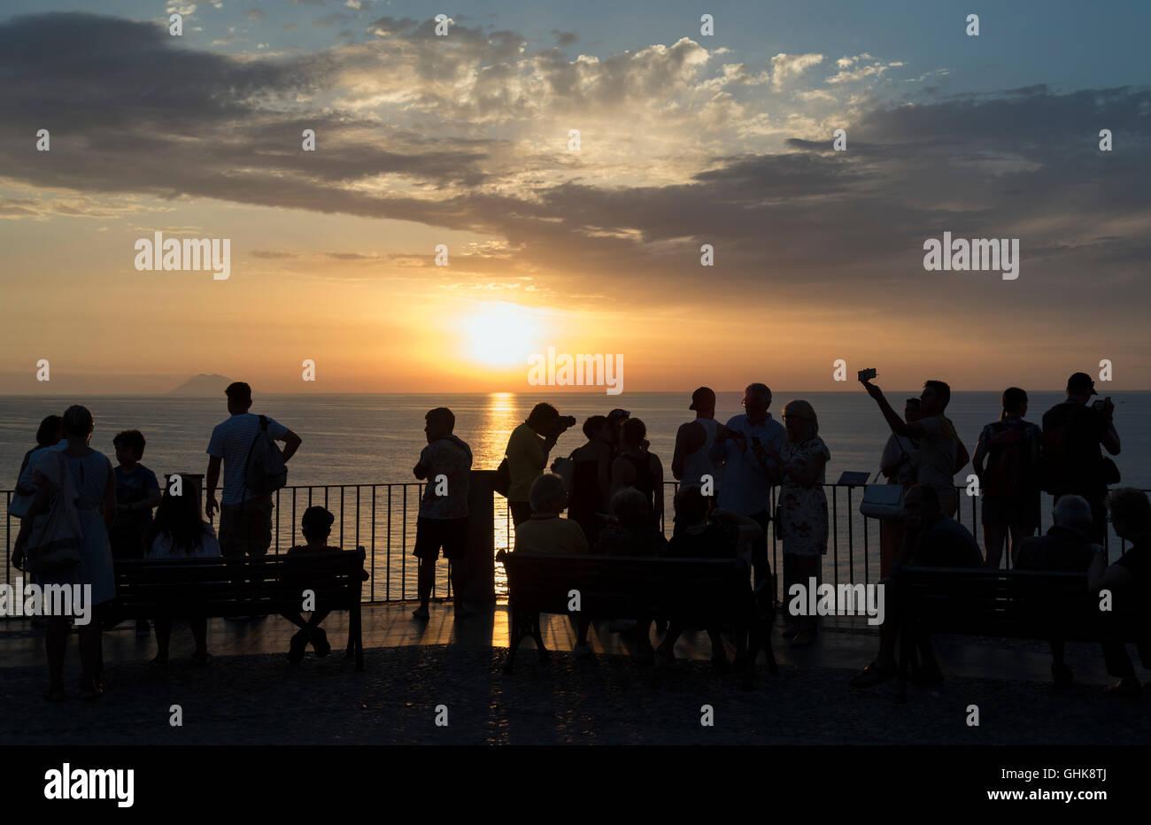 Sunset over Tyrrhenian Sea, Tropea, Calabria, Italy Stock Photo