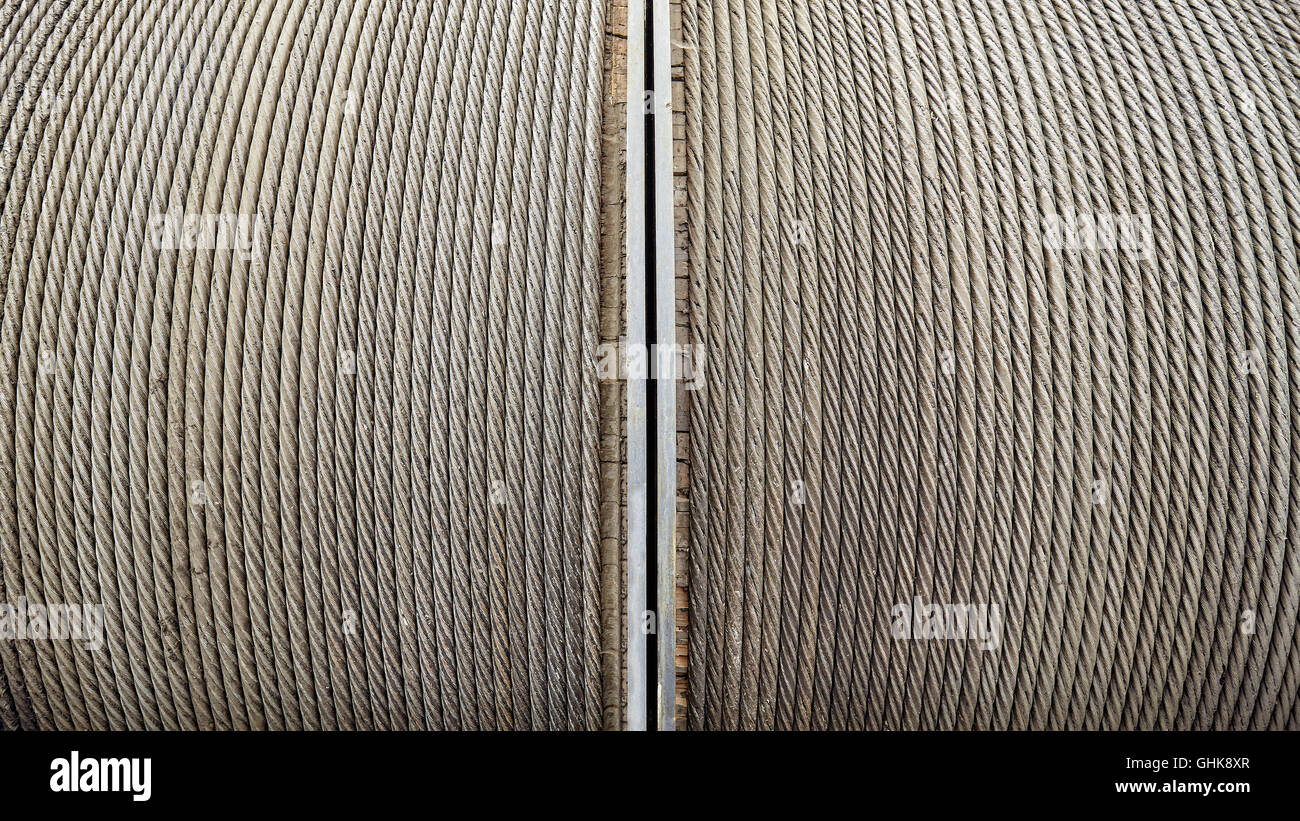 Steel winching cable, industrial background. - Stock Image