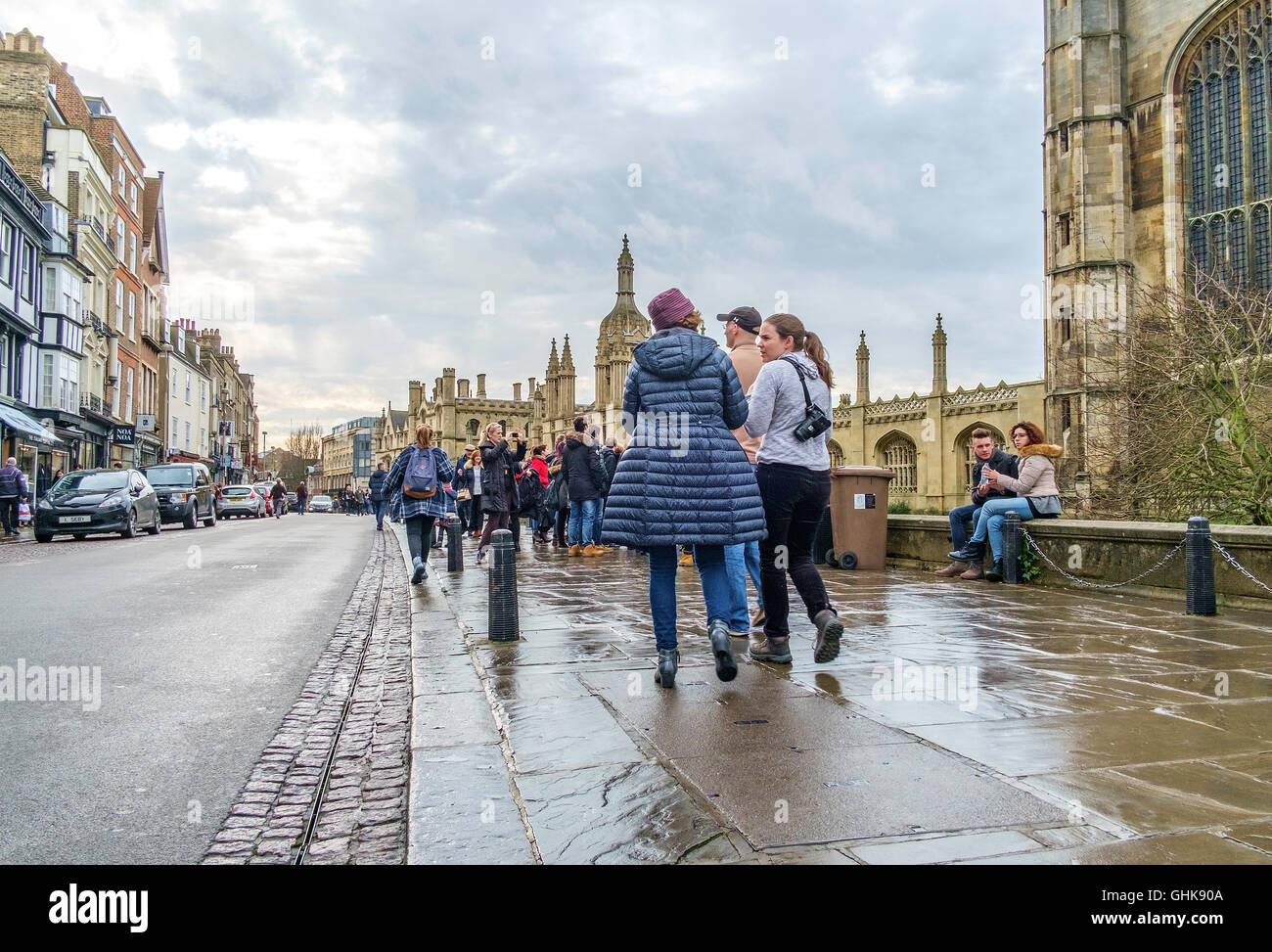 View of Kings Parade Cambridge with Shoppers and sightseers. - Stock Image